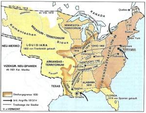 Die Ausdehnung der Vereinigten Staaten von Amerika nach dem Unabhängigekeitskrieg (dtv Atlas Weltgeschichte, Bd. 2, 2004; S. 292)