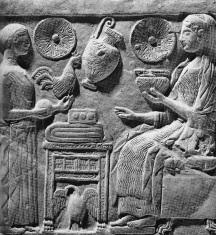 Die Göttin Persephone empfängt Geschenke (Votivtafel, Museo Reggio di Calabria)
