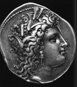 Die Göttin Persephone mit Ährenkranz (Griechische Silbermünze)