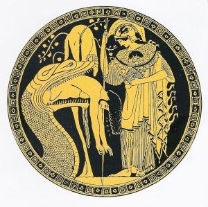Athene, Iason und der Drache (Gefäß 5. Jhdt. v. Chr.)
