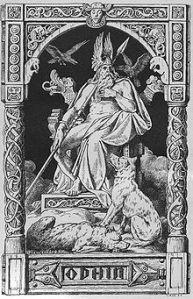 Göttervater Odin mit den Raben Hugin und Munin sowie den Wölfen Geri und Freki (Johannes Gehrts, 1888)
