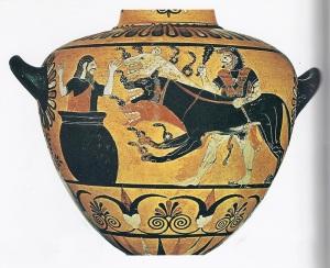 Herakles und Kerberos (Wasserkrug 520 v. Chr.; Louvre, Paris)