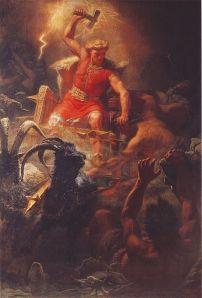Der Gott Thor auf seinem Wagen gezogen von den beiden Ziegenböcken (Mårten Eskil Winge, 1872)