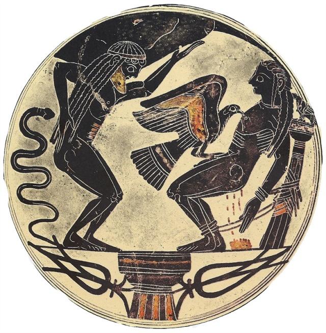 Die Titanen Atlas und Prometheus (Schale aus Lakonien 550 v. Chr., Vatikanische Museen Rom)