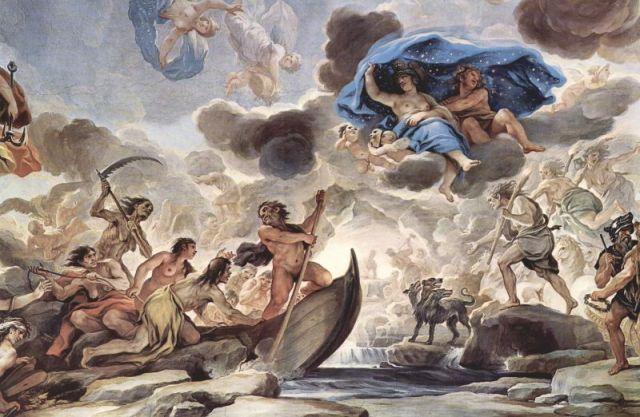 Die Barke des Charon (Fresko von Luca Giordano 1684-1686, Palazzo Medici Riccardi Florenz)