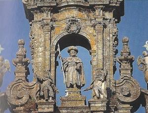 Santiago Peregrino an der Turmfassade der Kathedrale (Wegner, Wandern auf dem Spanischen Jakobsweg, DuMont, 1999)