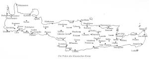 Karte mit den Städten auf Kreta in der klassischen Epoche (Chaniotis, Das antike Kreta, S. 129)