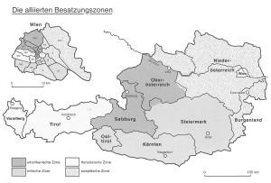 Die alliierten Besatzungszonen in Österreich (Vocelka, S. 366)