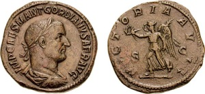 Münze mit dem Bild Gordianus I.