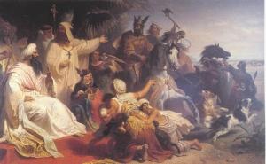 Harun ar Raschid trifft Karl den Großen (Quelle: Wikicommons)