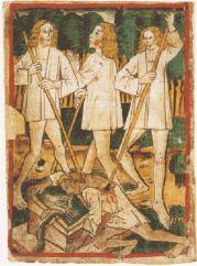 Darstellung der Ermordung Siegfrieds in der Handschrift k des Nibelungenlieds um 1480 (Quelle: Wikicommons)