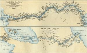 Zeichnung des Panamakanals (oben)
