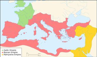 Das Römische Reich im 3. Jhdt. n. Chr. und seine Teilreiche - Reich von Palmyra (gelb)