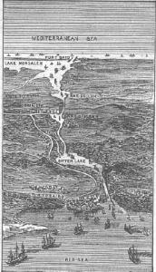 Zeichnung des Suezkanals aus dem Jahr 1881 (Quelle: Wikicommons)