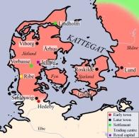 Reich der dänischen Wikinger mit der Lage von Haithabu (Hedeby) (Quelle: Wikicommons)